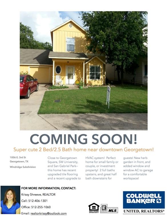 Coming Soon!  Cute Home in Downtown Georgetown!